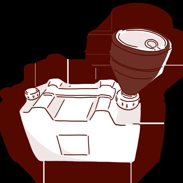 キャップロート付き白い廃液タンク