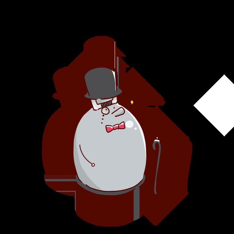 デュワー瓶のキャラクター。誇り高きデュワーさん。