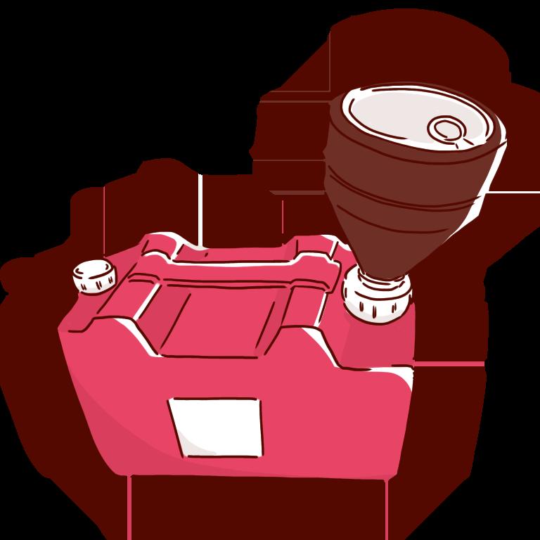 キャップロート付き赤い廃液タンク