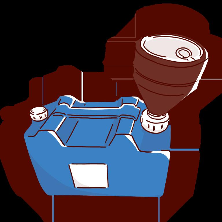 キャップロート付き青い廃液タンク