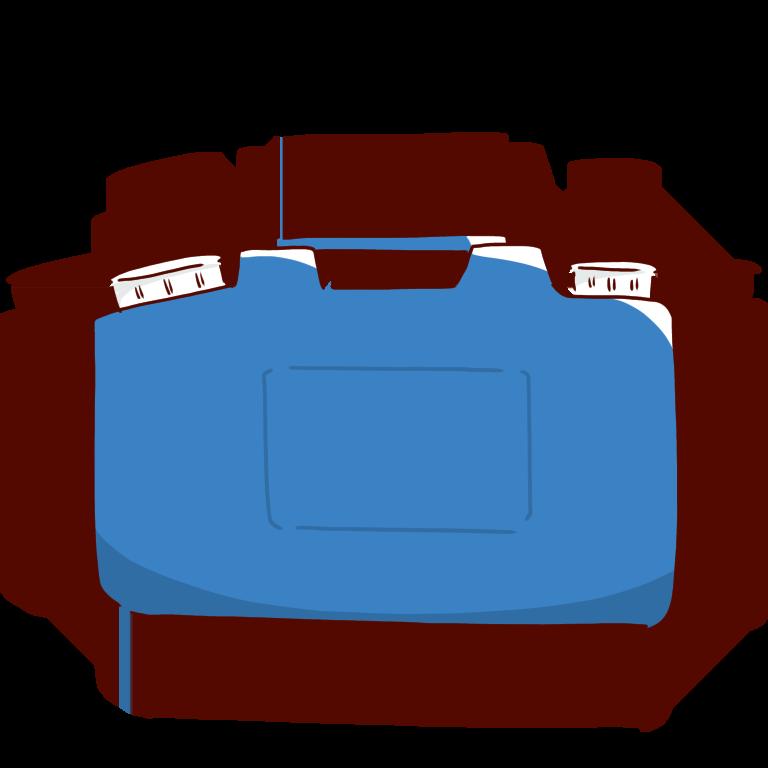 青い廃液タンク