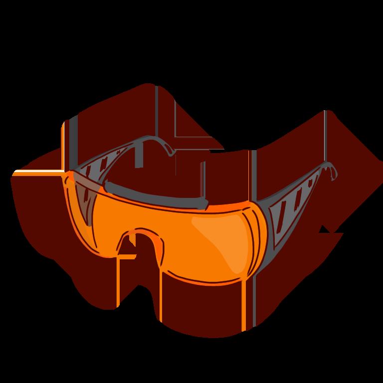 オレンジ色の保護メガネ