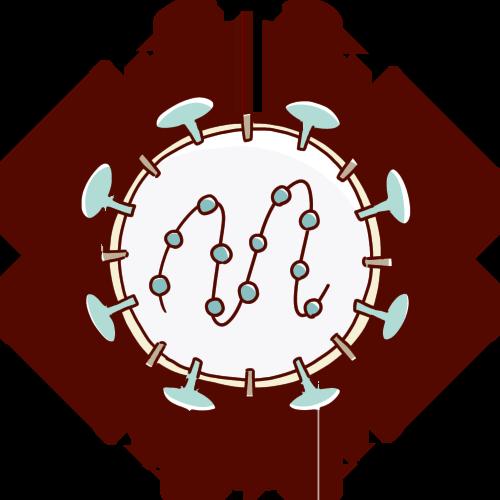 コロナウイルスの内部のイラスト