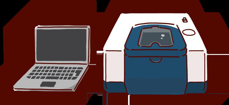 化学イラスト、赤外分光光度計、IR測定装置、解析用PC付き