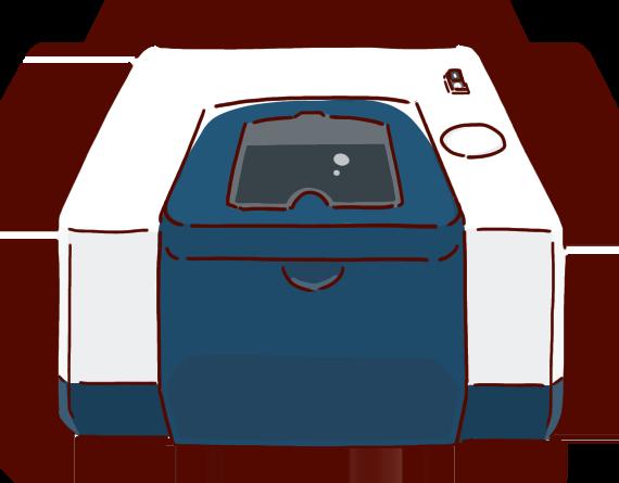 化学イラスト、赤外分光光度計、IR測定装置