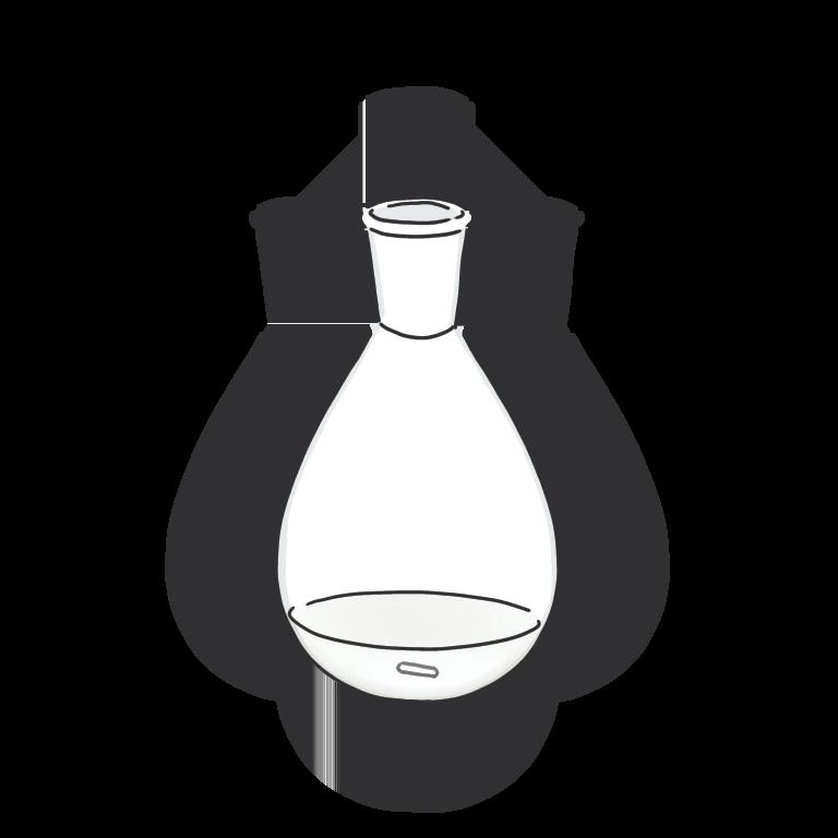 白い反応液のナスフラスコ