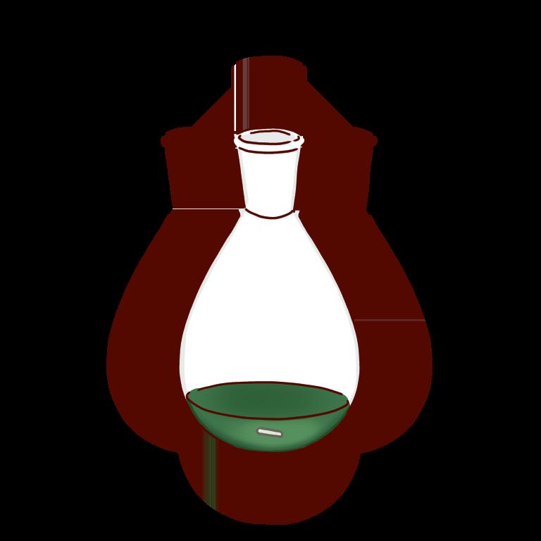 緑の反応液のナスフラスコ