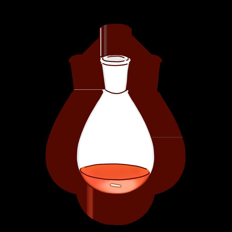 赤い反応液のナスフラスコ