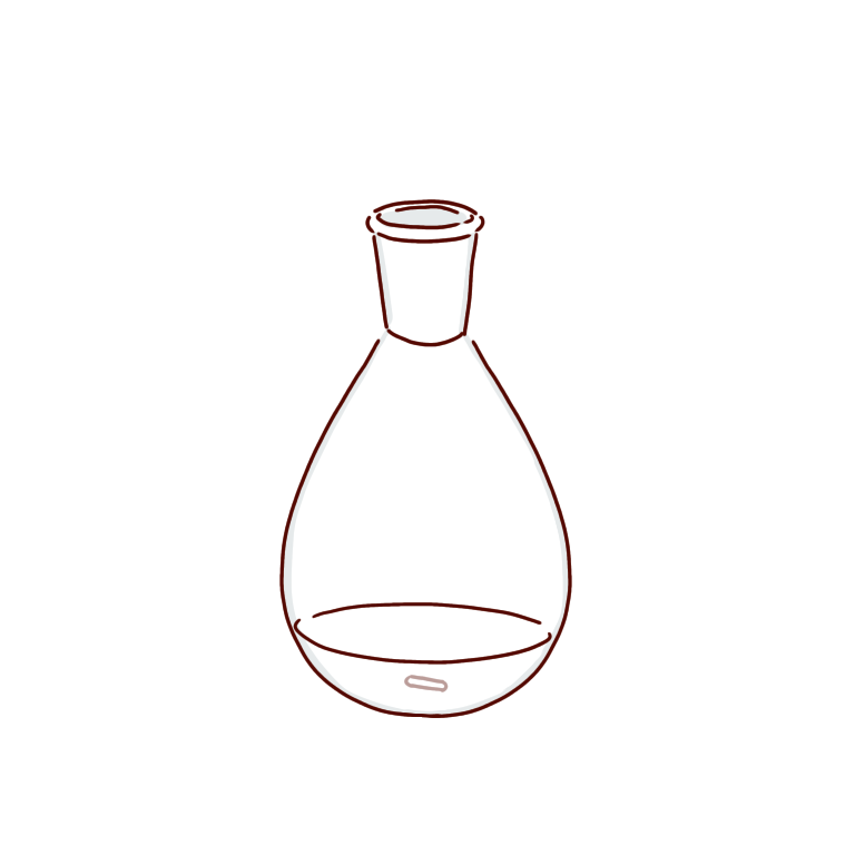 透明な反応液のナスフラスコ