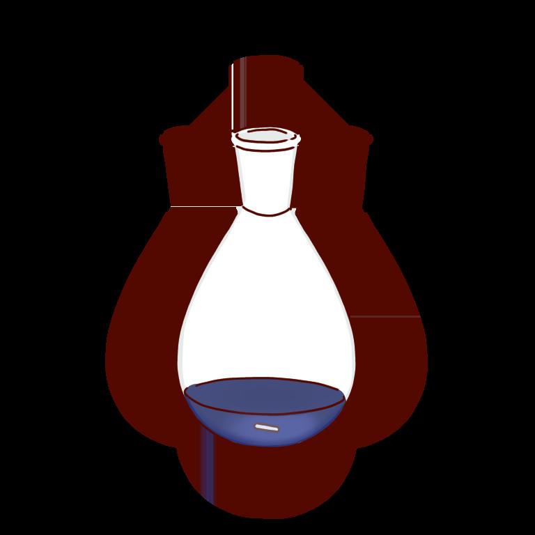 青い反応液のナスフラスコ