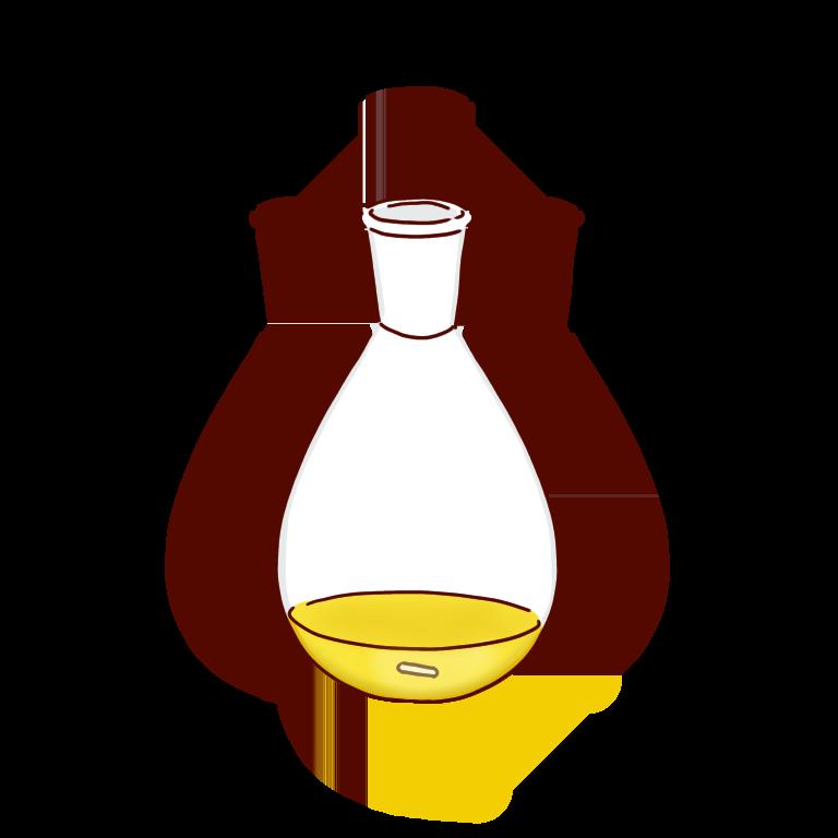 黄色い反応液のナスフラスコ