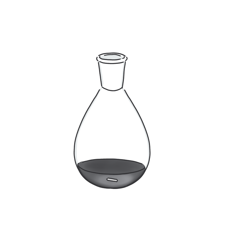 黒い反応液のナスフラスコ