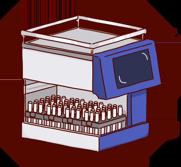自動カラム、フラッシュ自動精製装置 化学イラスト